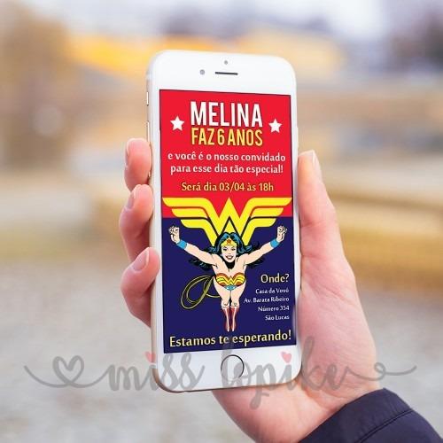 Convite Digital Mulher Maravilha Clássica Whatsapp Na Rededots Com Br