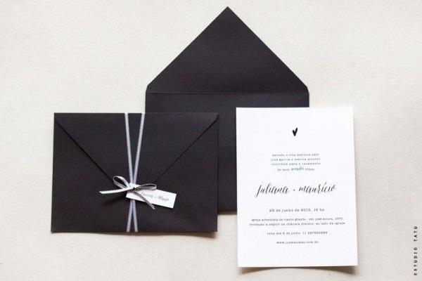 Convite Sóbrio E Moderno, Todo Em Preto & Branco   Br O Conjunto é
