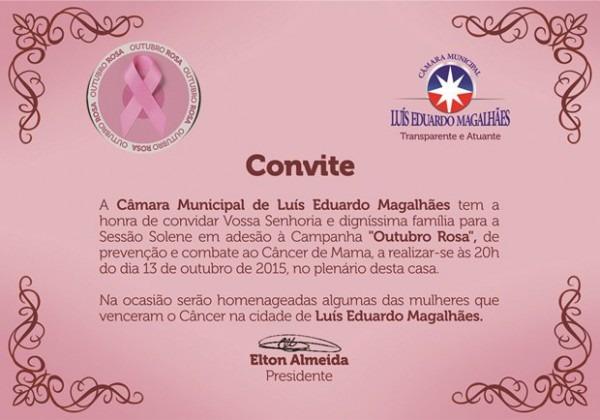 Convite  CÂmara Municipal De Lem  Outubro Rosa