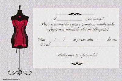 Convites Para Chá De Lingerie Grátis Para Editar