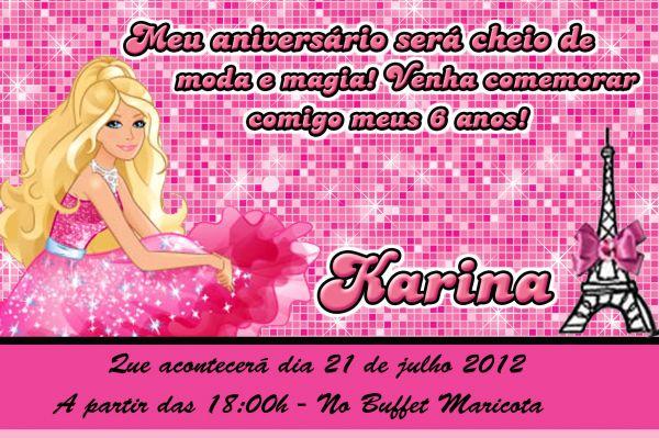 Convite Barbie Moda E Magia 10x15