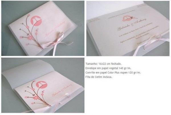 Modelo De Convite De Casamento, Usando Papel Vegetal No Envelope