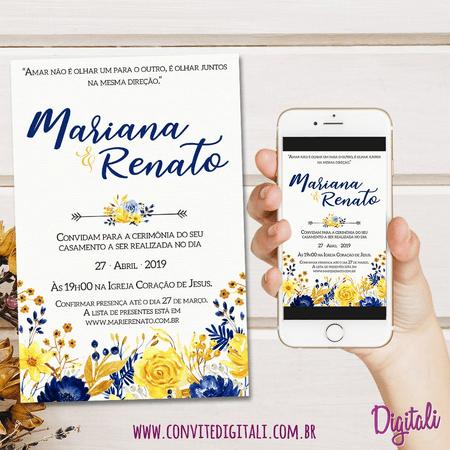 Convite Casamento Azul E Amarelo