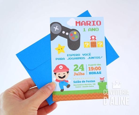 Convite Festa Super Mario