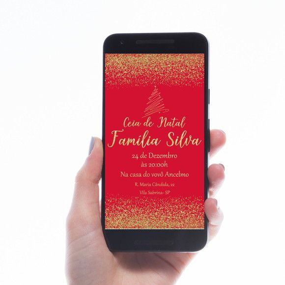 Convite Digital , Virtual Para Envio Via Whatsapp , Ceia De Natal