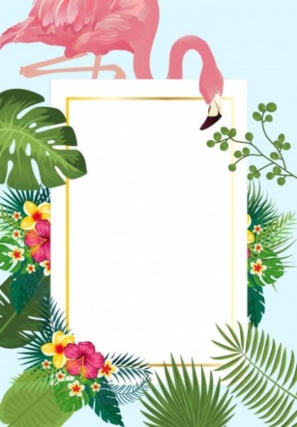 Cartão Tropical Do Convite Do Flamingo Foto Stock Gratuita