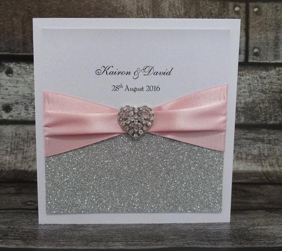 Glitter Branco Cartões Do Convite Do Casamento Com Fita De Cetim E
