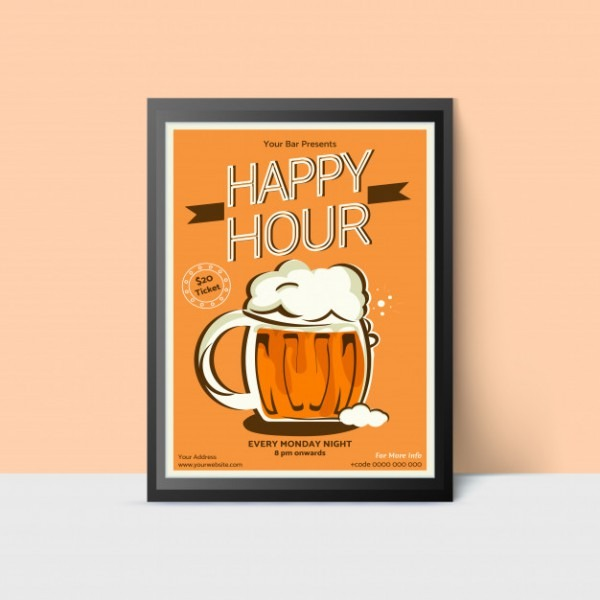 Happy Hour Template With Beer Mug For Web, Poster, Flyer