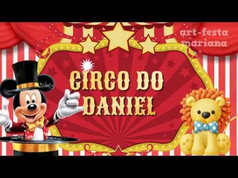 Convite Animado Mickey Circo
