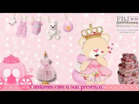 Convite Animado Chá De Fraldas Ursinha Princesa Da Mariana Amostra