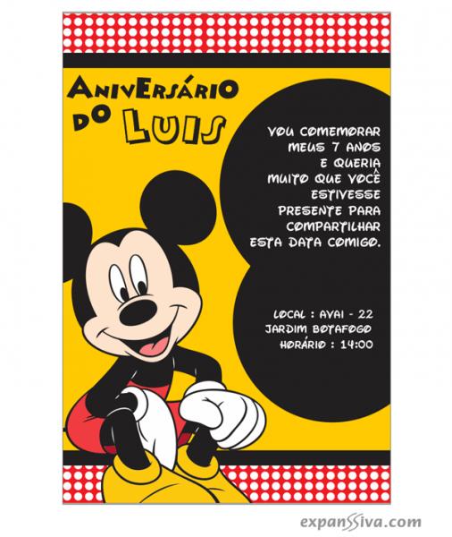 Convites Infantis Para Mickey M6773
