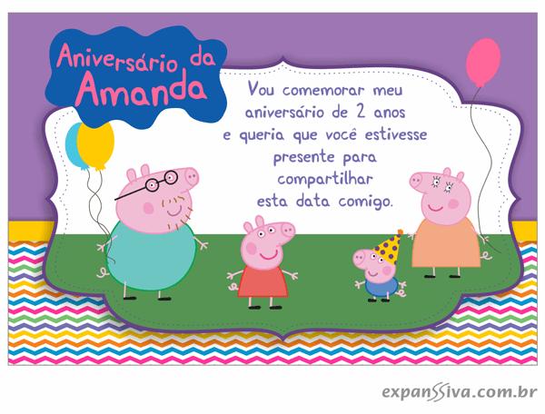 Convites Infantis Para Peppa Pig M6819