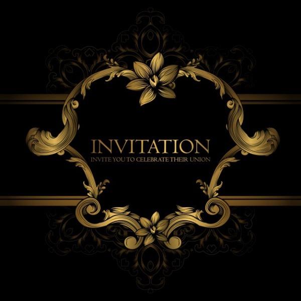 Modelo De Convite Com Design Dourado No Fundo Preto