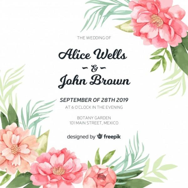 Modelo De Convite De Casamento Com Flores Lindas Peônia Aquarela
