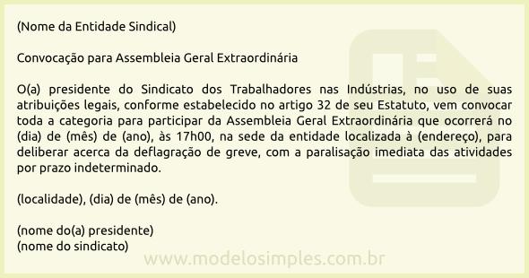 Modelo De Edital De Convocação Para Assembleia Geral De Trabalhadores
