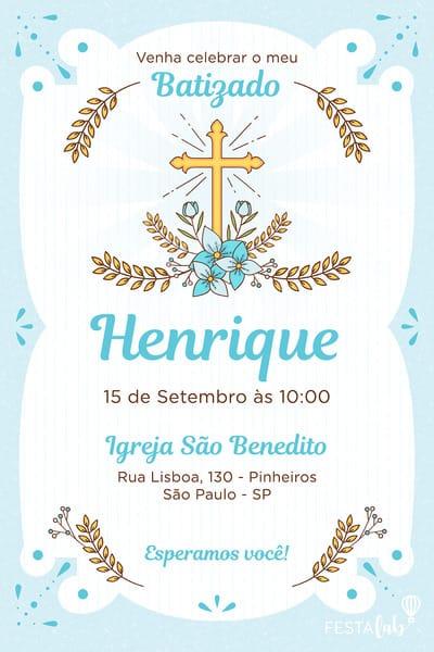 Convite De Batizado