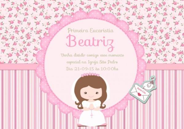 Convite Primeira Eucaristia Floral Por R$12,00