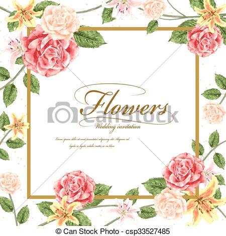 Romanticos, Casório, Desenho, Modelo, Convite, Flores  Romanticos