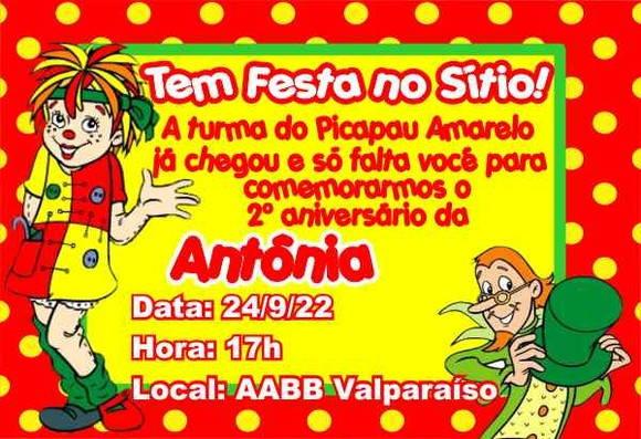 Convite Aniversário Sítio Do Picapau