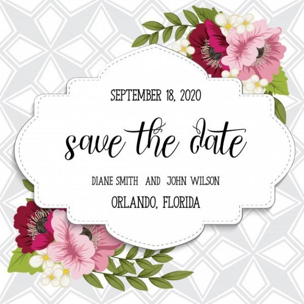 Suíte De Cartão De Convite De Casamento Com Modelos De Flores