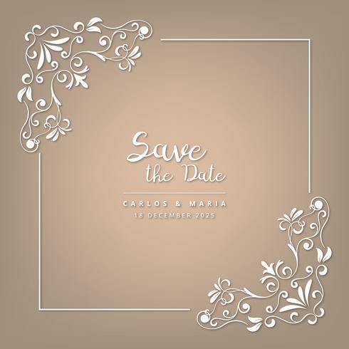O Convite Do Casamento Carda O Marrom Barroco E Bege Do Estilo