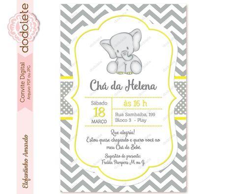 35 Modelos De Convite De Elefantinho Para Chá De Bebê – Modelos De