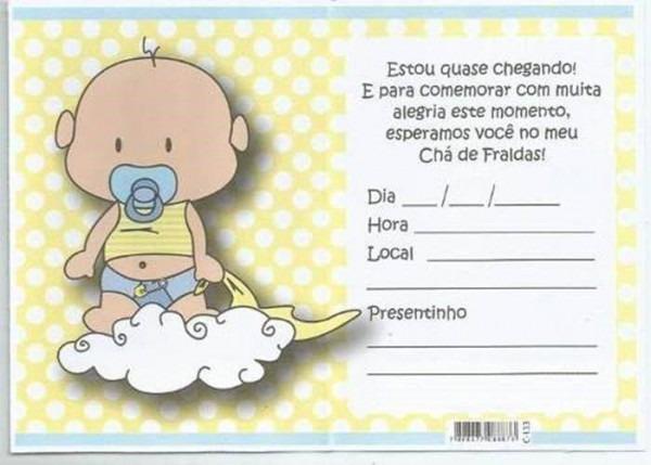 Convites De Chá De Fralda Para Editar