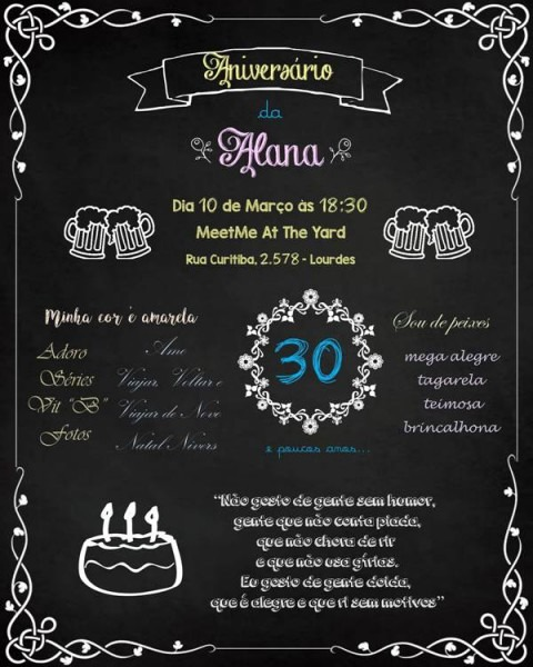 Convite Chalkboard  30 Convites De Quadro Negro Para Conferir