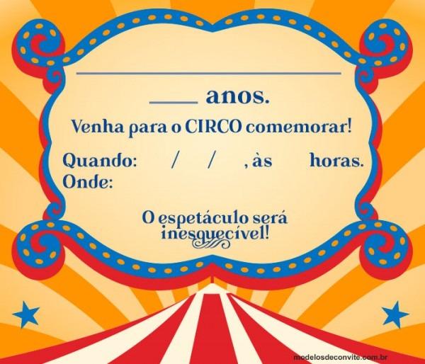 Convite Circo  44 Modelos Com Tema Circo! – Modelos De Convite