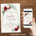 Convite De Casamento Vermelho Com Branco