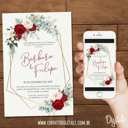 Convite Casamento Vermelho E Branco Florido