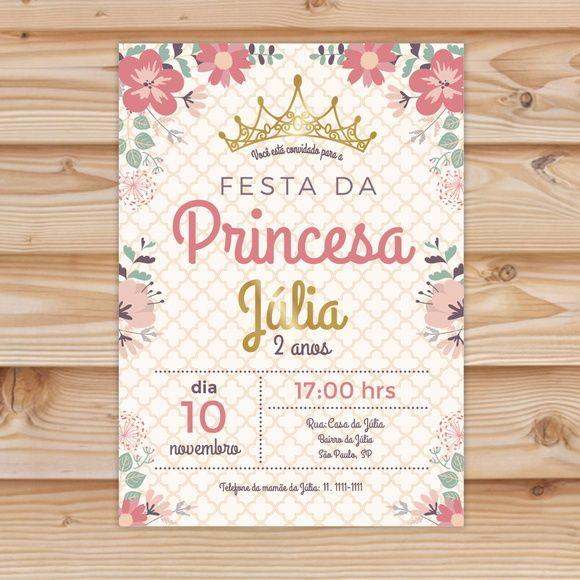 Convite Festa Princesa Personalizado