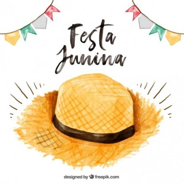 Chapéu De Palha Aquarela Festa Junina Fundo