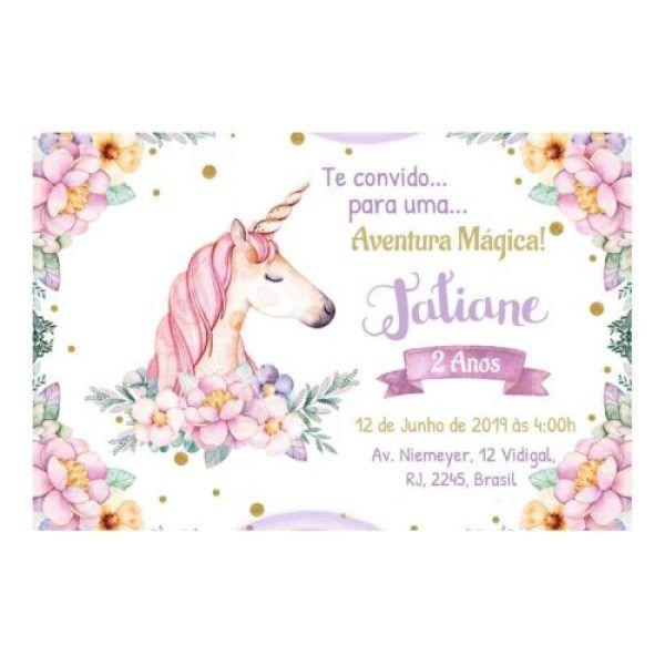 Convite Unicornio Para Editar E Imprimir