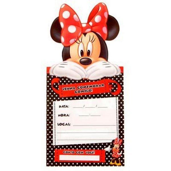 Convite De Aniversário Minnie Vermelha