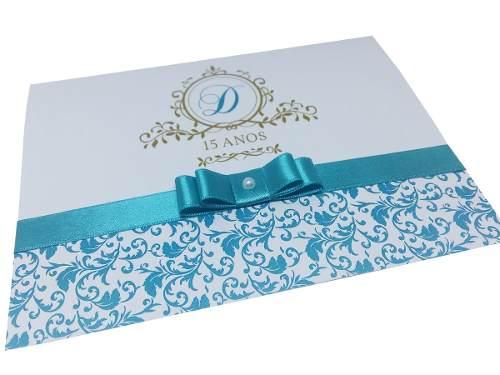 100 Convites 15 Anos Azul Tiffany E Dourado