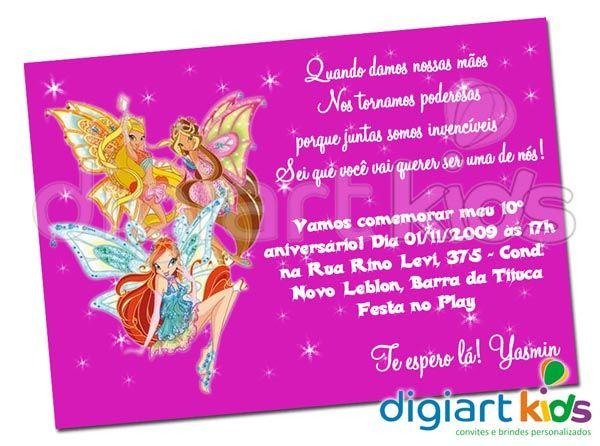 Convite Personalizado Clube Das Winx