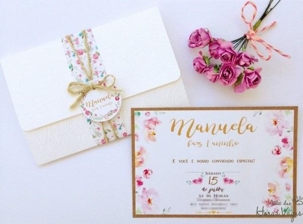 Convite Artesanal Rústico Floral Aquarelado Boho