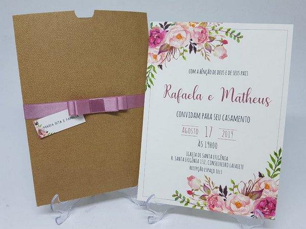 Convite Casamento Rustico Flores Linhao