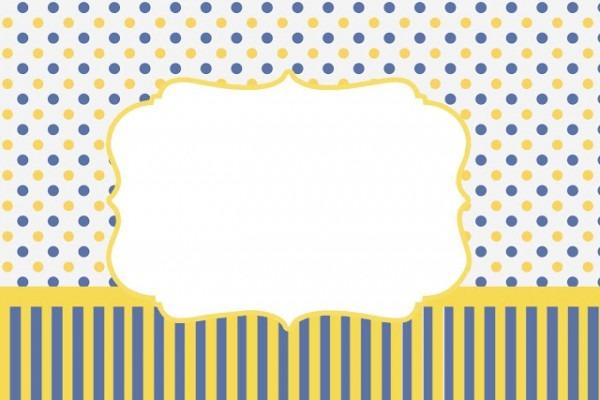 Poá E Listras Azul E Amarelo