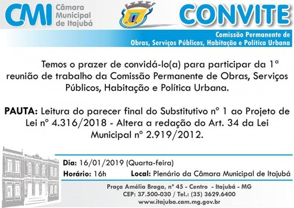 Convite  1ª Reunião De Trabalho Da Comissão Permanente De Obras