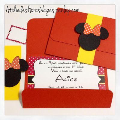 Convite Artesanal Aniversário Infantil Personalizados Minnie Mouse