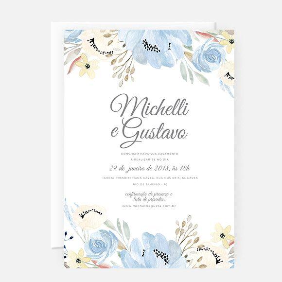 Convite Casamento Azul [arte Digital P  Imprimir]