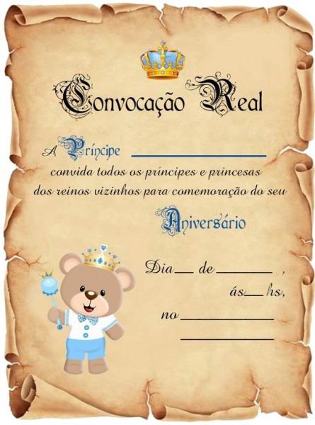 30 Convite Pergaminho Ursinho Príncipe