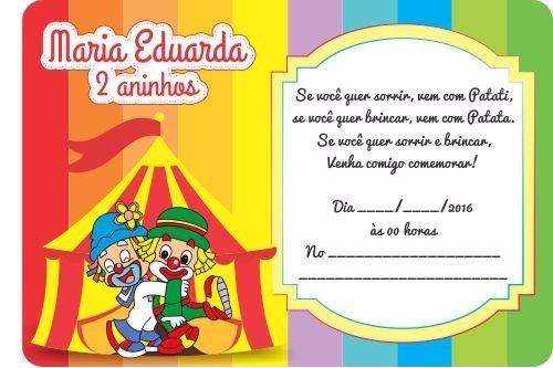 30 Convites Simples Infantil Aniversário Patati Patata
