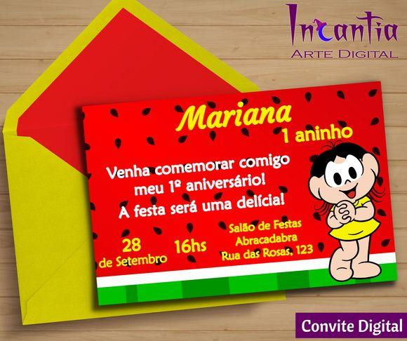 Arte Digital Convite Magali, Turma Da Mônica