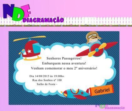 Convites Prontos Para Aniversário De Menino Piloto De Avião