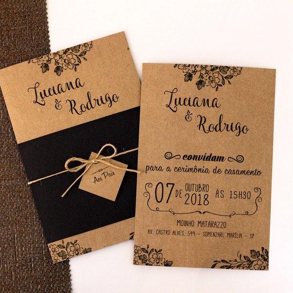Convite De Casamento Rústico Em Papel Kraft