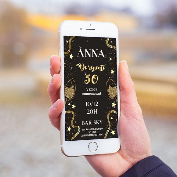 Convite Digital Celular Whatsapp Aniversário Infantil Adulto