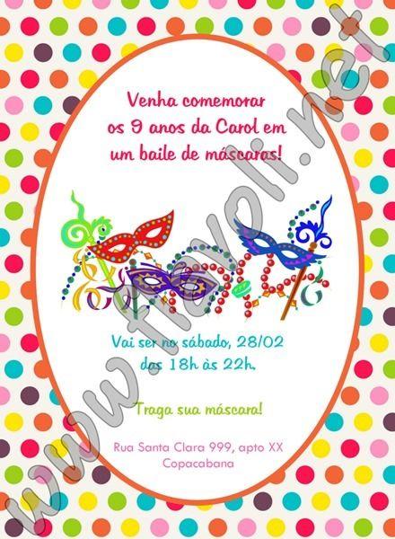 Convite Baile De Máscaras    Flavoli Net